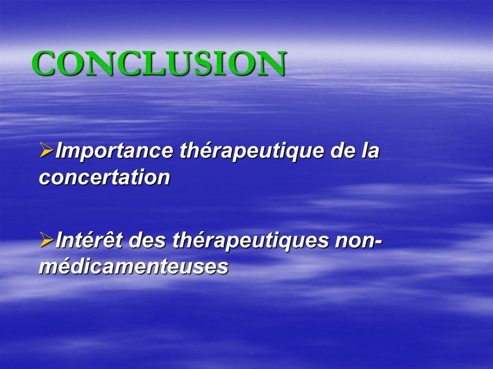 Importance thérapeutique de la concertation Importance thérapeutique de la concertation Intérêt des thérapeutiques non- médicamenteuses Intérêt des thérapeutiques non- médicamenteuses CONCLUSION