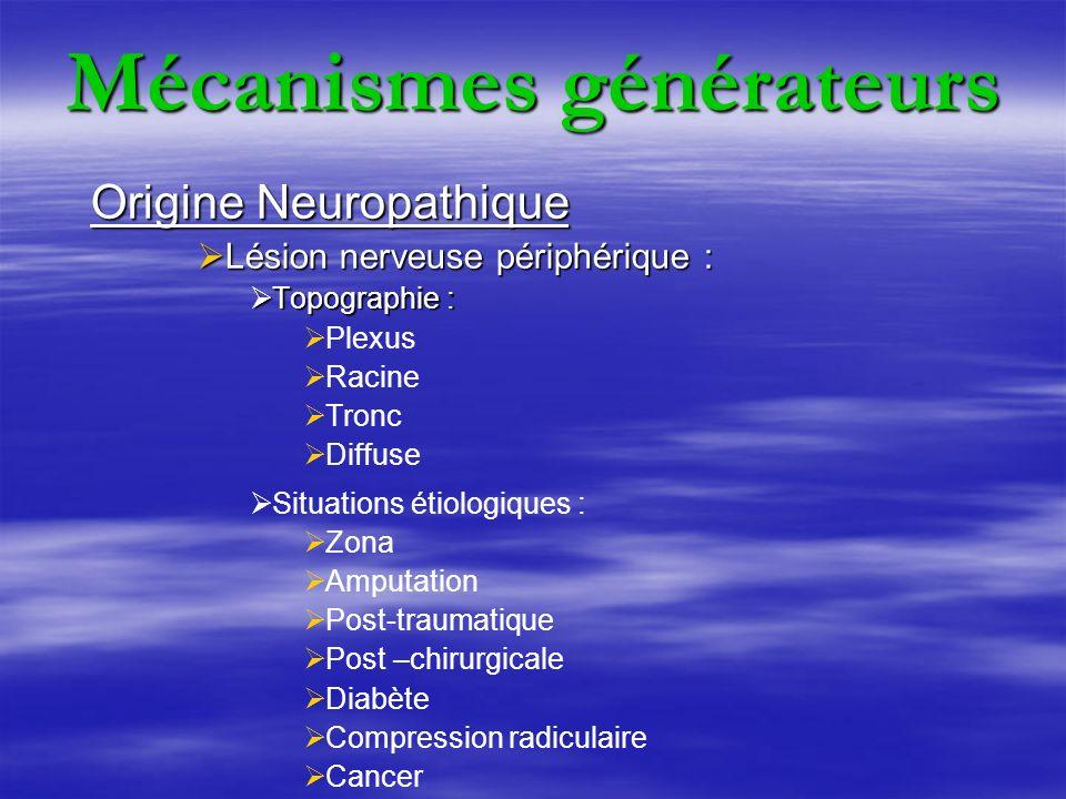 Mécanismes générateurs Origine Neuropathique Lésion nerveuse centrale : Lésion nerveuse centrale : Traumatisme médullaire Paraplégie AVC Traitement de première intention des DNP Antidépresseurs tricycliques Antiépileptiques Technique de neurostimulation