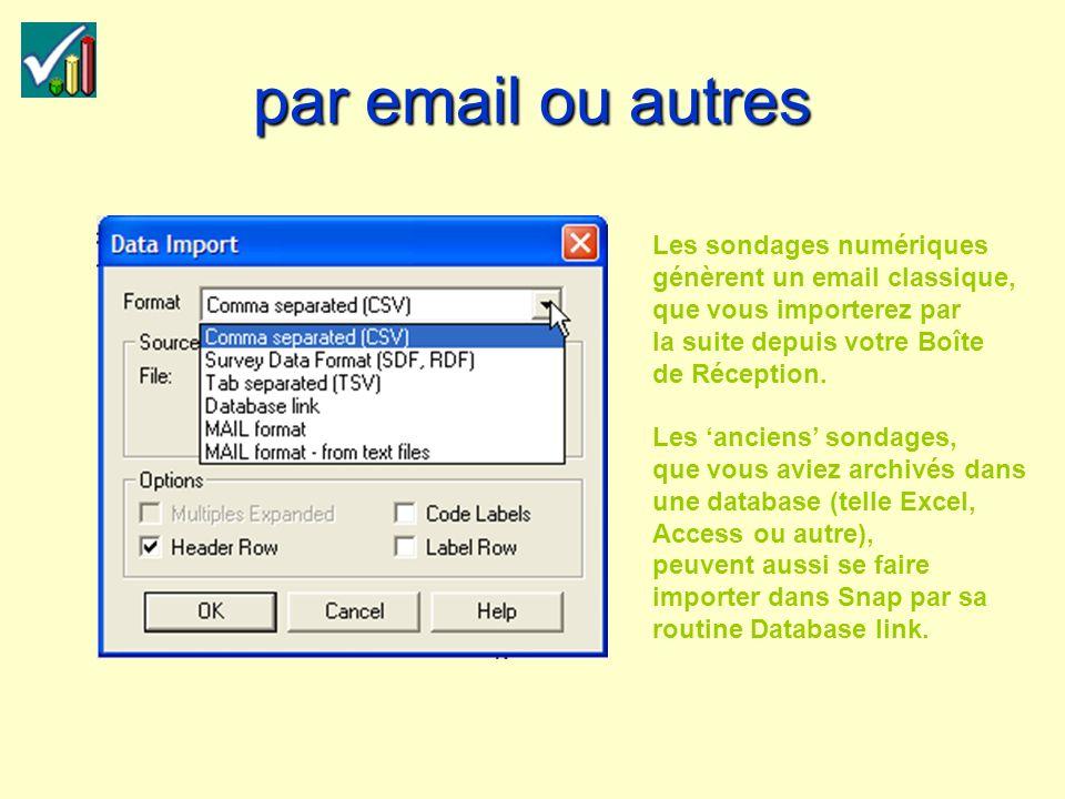 par email ou autres Les sondages numériques génèrent un email classique, que vous importerez par la suite depuis votre Boîte de Réception.
