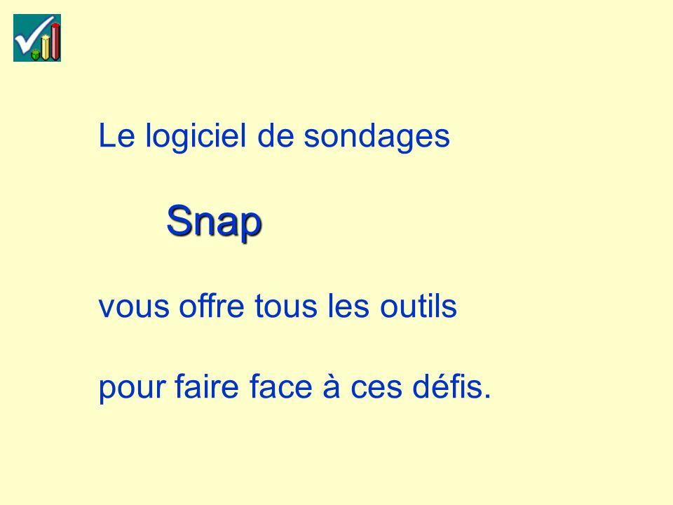 Snap Le logiciel de sondages Snap vous offre tous les outils pour faire face à ces défis.
