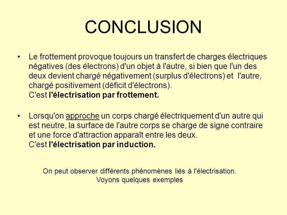 Si les substances sont conductrices (métaux, objets humides, corps humain), elles ne conservent pas longtemps leur charge électrique et redeviennent rapidement neutres, surtout si elles sont directement ou indirectement en contact avec le sol.