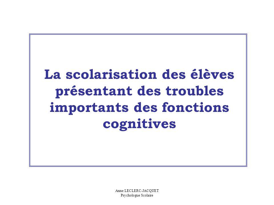 La scolarisation des élèves présentant des troubles importants des fonctions cognitives Anne LECLERC-JACQUET Psychologue Scolaire