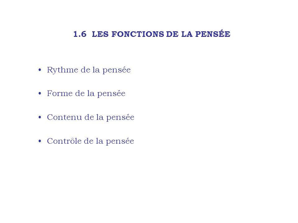 1.6 LES FONCTIONS DE LA PENSÉE Rythme de la pensée Forme de la pensée Contenu de la pensée Contrôle de la pensée