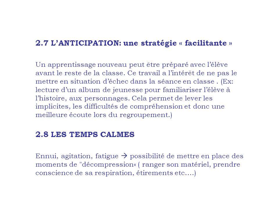 2.7 LANTICIPATION: une stratégie « facilitante » Un apprentissage nouveau peut être préparé avec lélève avant le reste de la classe. Ce travail a lint