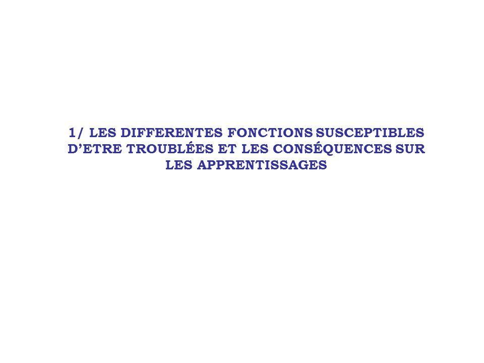 1/ LES DIFFERENTES FONCTIONS SUSCEPTIBLES DETRE TROUBLÉES ET LES CONSÉQUENCES SUR LES APPRENTISSAGES