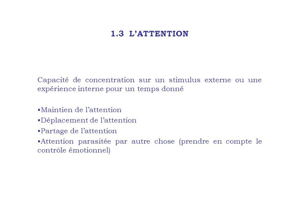 1.3 LATTENTION Capacité de concentration sur un stimulus externe ou une expérience interne pour un temps donné Maintien de lattention Déplacement de l