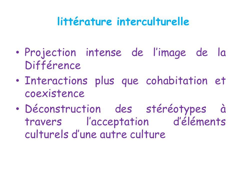 littérature interculturelle Projection intense de limage de la Différence Interactions plus que cohabitation et coexistence Déconstruction des stéréot