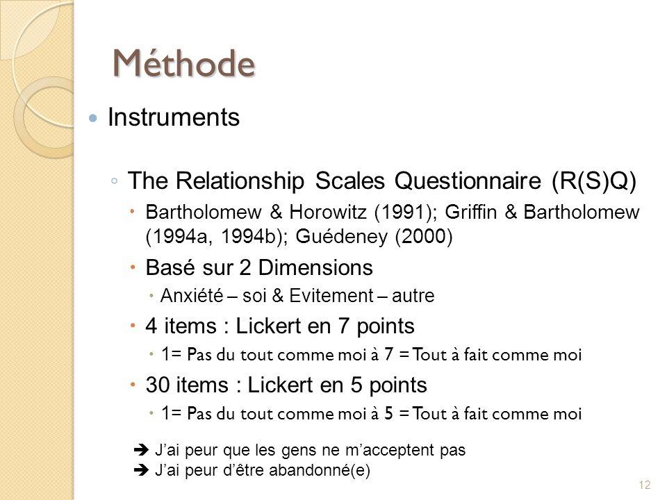 Méthode Instruments The Relationship Scales Questionnaire (R(S)Q) Bartholomew & Horowitz (1991); Griffin & Bartholomew (1994a, 1994b); Guédeney (2000)