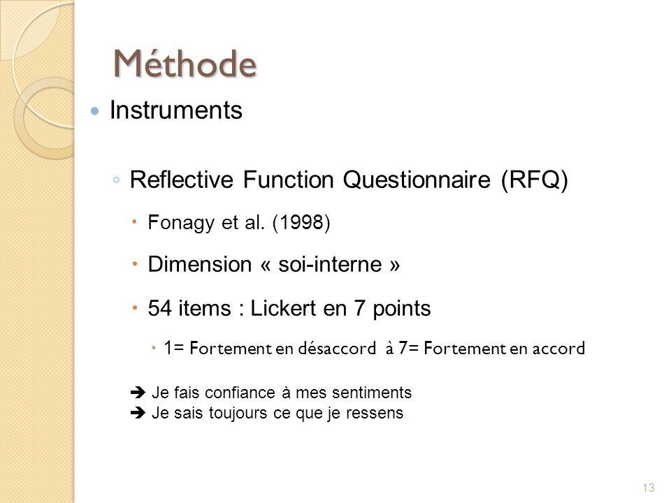 Méthode Instruments Reflective Function Questionnaire (RFQ) Fonagy et al. (1998) Dimension « soi-interne » 54 items : Lickert en 7 points 1= Fortement