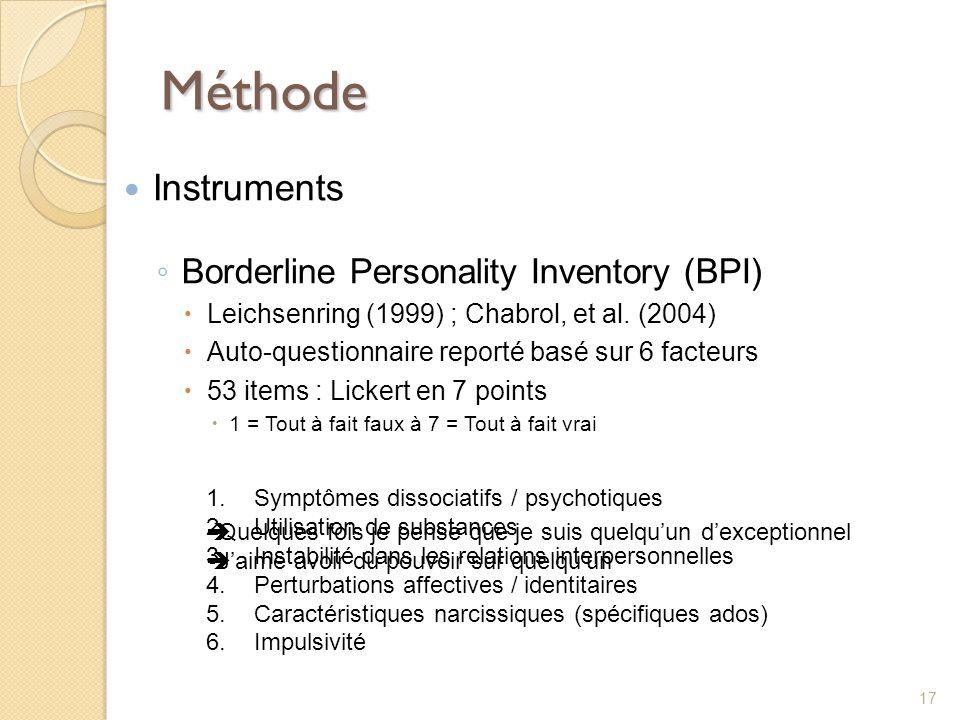 Méthode Instruments Borderline Personality Inventory (BPI) Leichsenring (1999) ; Chabrol, et al. (2004) Auto-questionnaire reporté basé sur 6 facteurs