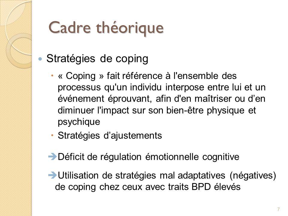 Cadre théorique Stratégies de coping « Coping » fait référence à l'ensemble des processus qu'un individu interpose entre lui et un événement éprouvant
