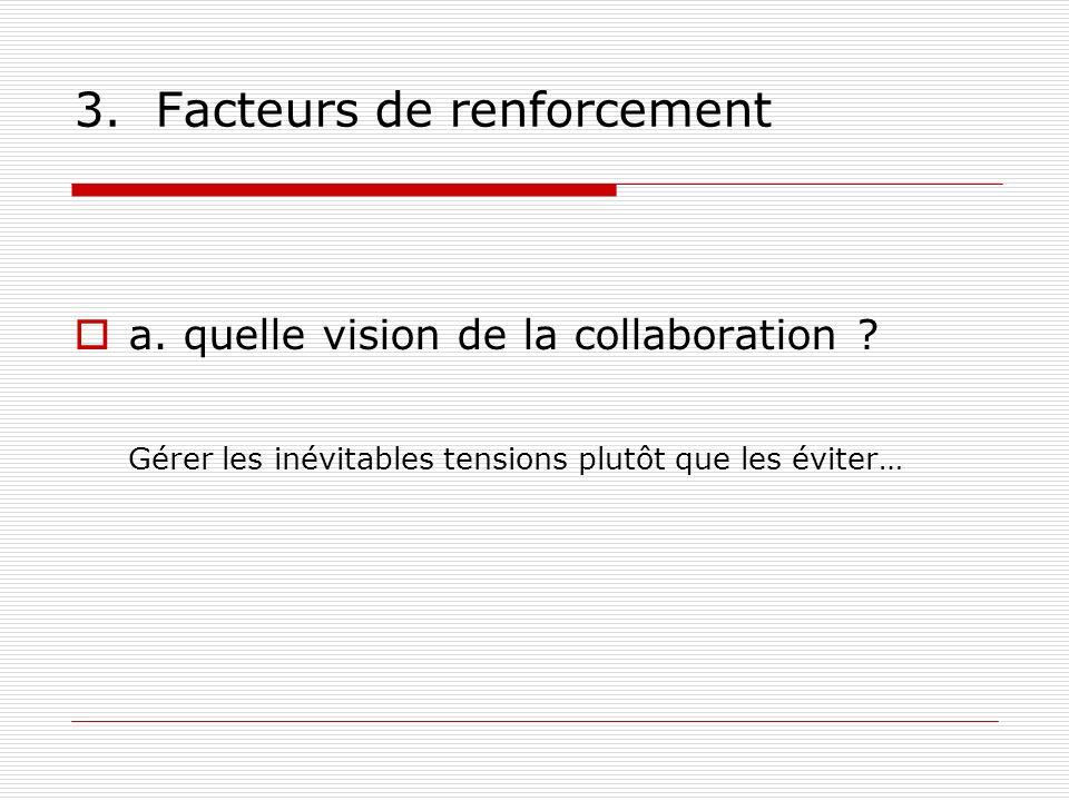3. Facteurs de renforcement a. quelle vision de la collaboration ? Gérer les inévitables tensions plutôt que les éviter…