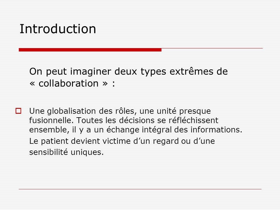 Introduction On peut imaginer deux types extrêmes de « collaboration » : Une globalisation des rôles, une unité presque fusionnelle. Toutes les décisi