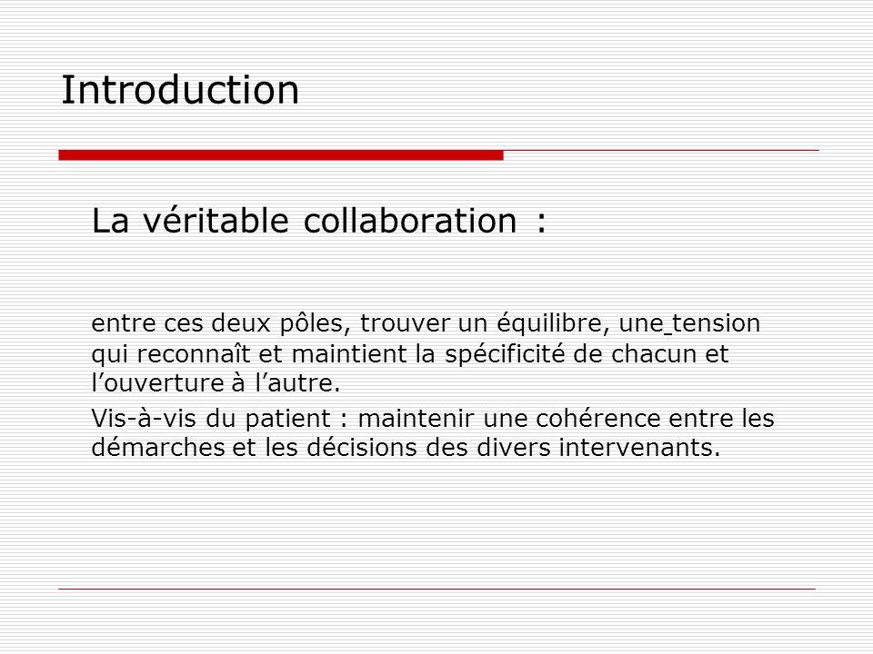 Introduction La véritable collaboration : entre ces deux pôles, trouver un équilibre, une tension qui reconnaît et maintient la spécificité de chacun