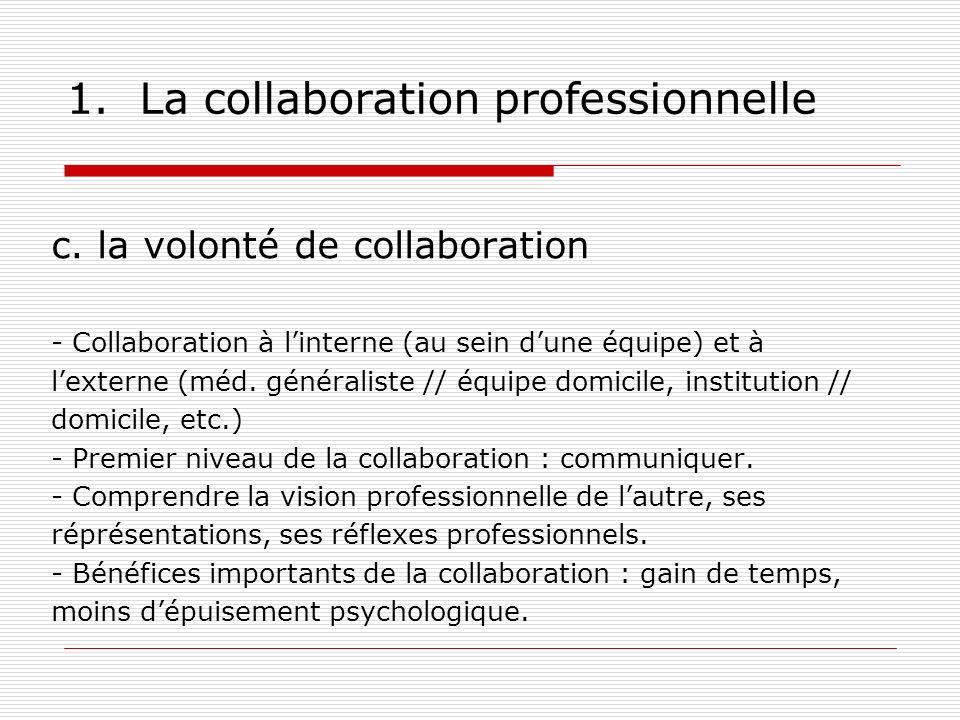 1. La collaboration professionnelle c. la volonté de collaboration - Collaboration à linterne (au sein dune équipe) et à lexterne (méd. généraliste //