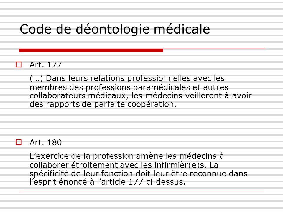Code de déontologie médicale Art. 177 (…) Dans leurs relations professionnelles avec les membres des professions paramédicales et autres collaborateur