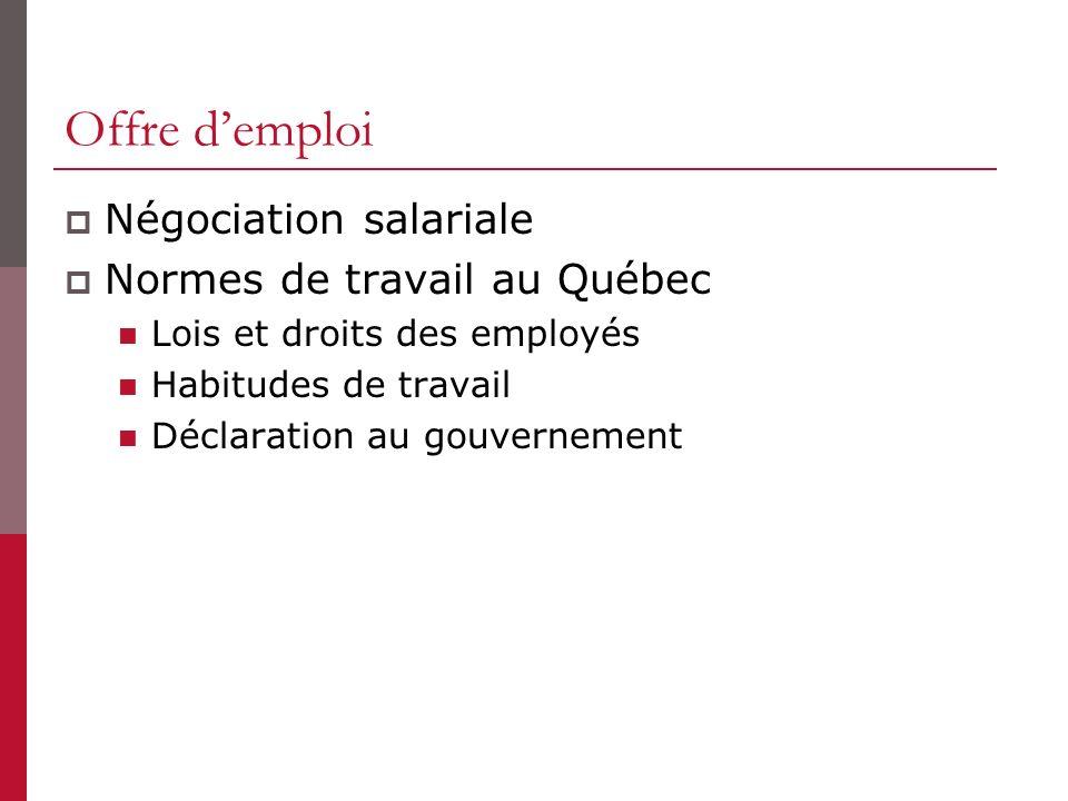 Offre demploi Négociation salariale Normes de travail au Québec Lois et droits des employés Habitudes de travail Déclaration au gouvernement