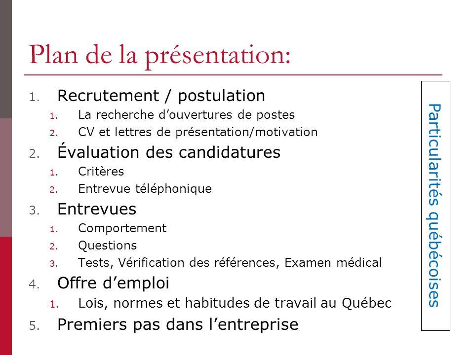 Plan de la présentation: 1.Recrutement / postulation 1.