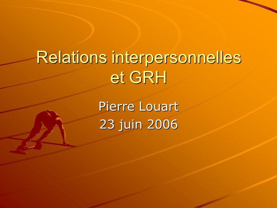 Relations interpersonnelles et GRH Pierre Louart 23 juin 2006