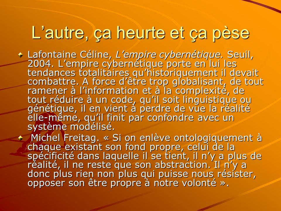Lautre, ça heurte et ça pèse Lafontaine Céline, Lempire cybernétique. Seuil, 2004. Lempire cybernétique porte en lui les tendances totalitaires quhist
