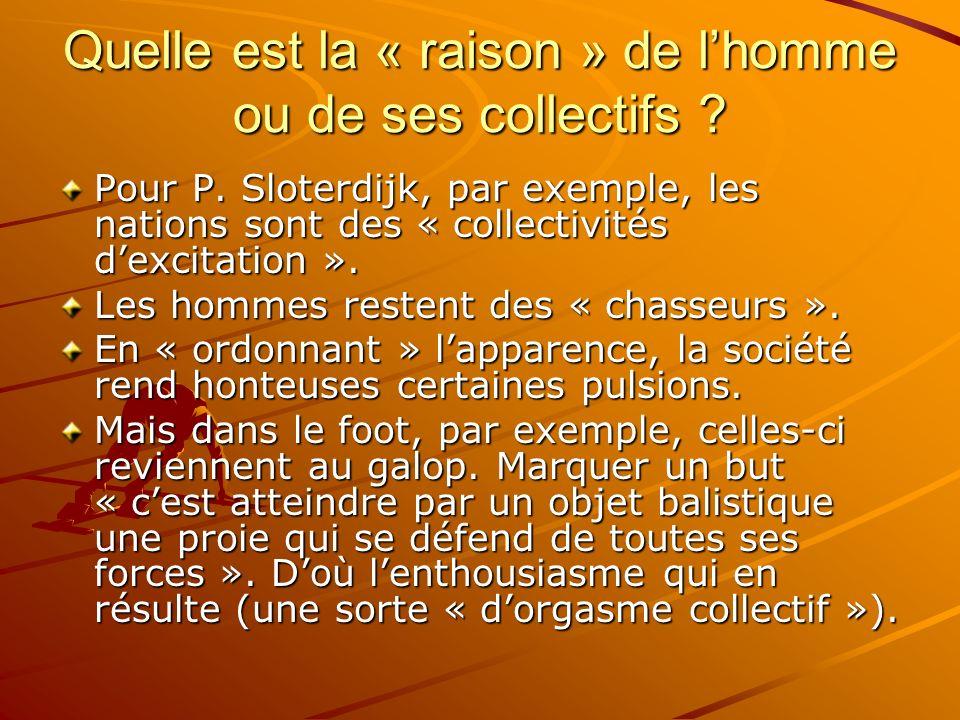 Quelle est la « raison » de lhomme ou de ses collectifs ? Pour P. Sloterdijk, par exemple, les nations sont des « collectivités dexcitation ». Les hom