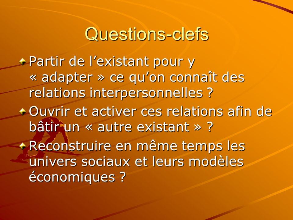 Questions-clefs Partir de lexistant pour y « adapter » ce quon connaît des relations interpersonnelles ? Ouvrir et activer ces relations afin de bâtir