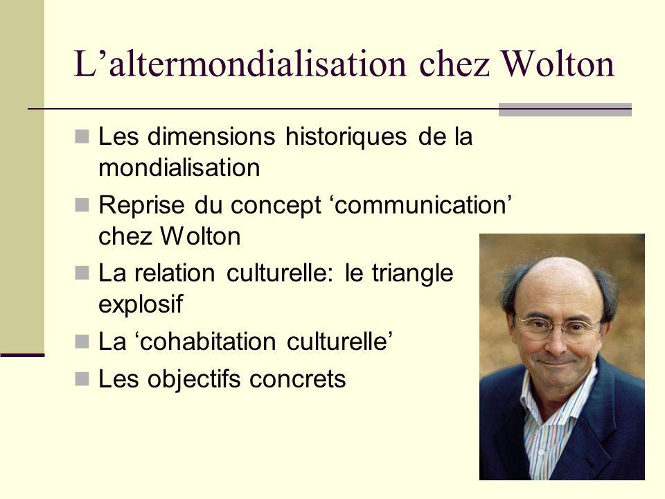 Laltermondialisation chez Wolton Les dimensions historiques de la mondialisation Reprise du concept communication chez Wolton La relation culturelle: