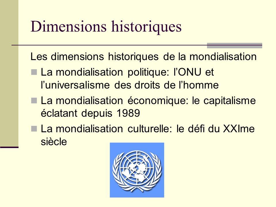 Dimensions historiques Les dimensions historiques de la mondialisation La mondialisation politique: lONU et luniversalisme des droits de lhomme La mon