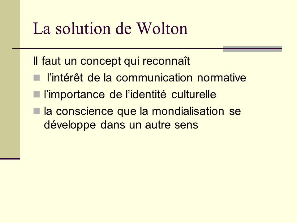 La solution de Wolton Il faut un concept qui reconnaît lintérêt de la communication normative limportance de lidentité culturelle la conscience que la