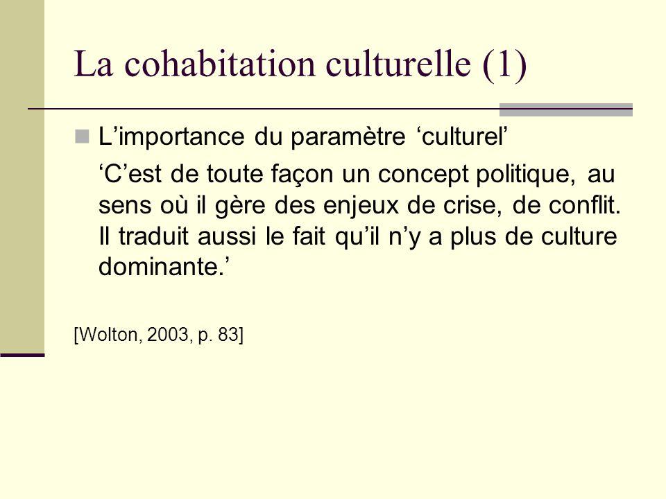 La cohabitation culturelle (1) Limportance du paramètre culturel Cest de toute façon un concept politique, au sens où il gère des enjeux de crise, de