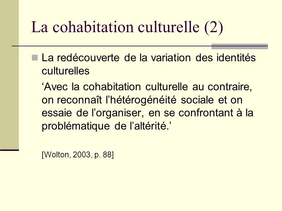 La cohabitation culturelle (2) La redécouverte de la variation des identités culturelles Avec la cohabitation culturelle au contraire, on reconnaît lh
