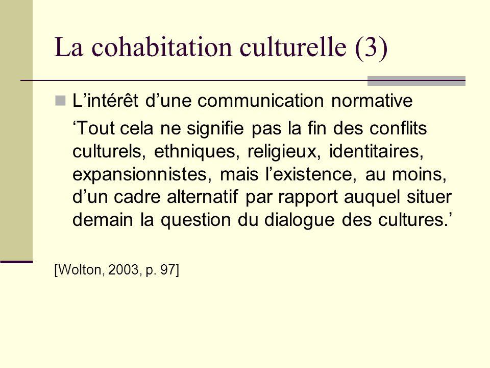 La cohabitation culturelle (3) Lintérêt dune communication normative Tout cela ne signifie pas la fin des conflits culturels, ethniques, religieux, id