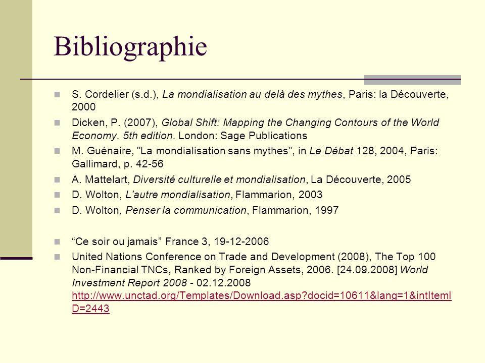 Bibliographie S. Cordelier (s.d.), La mondialisation au delà des mythes, Paris: la Découverte, 2000 Dicken, P. (2007), Global Shift: Mapping the Chang