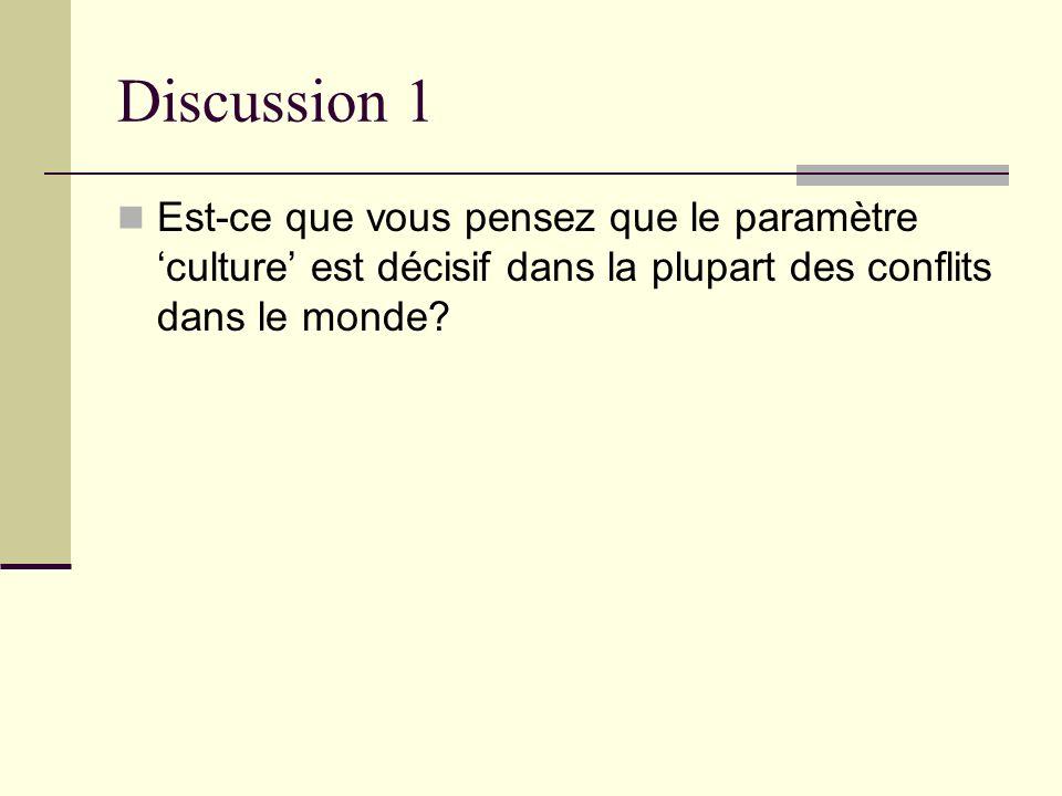 Discussion 1 Est-ce que vous pensez que le paramètre culture est décisif dans la plupart des conflits dans le monde?