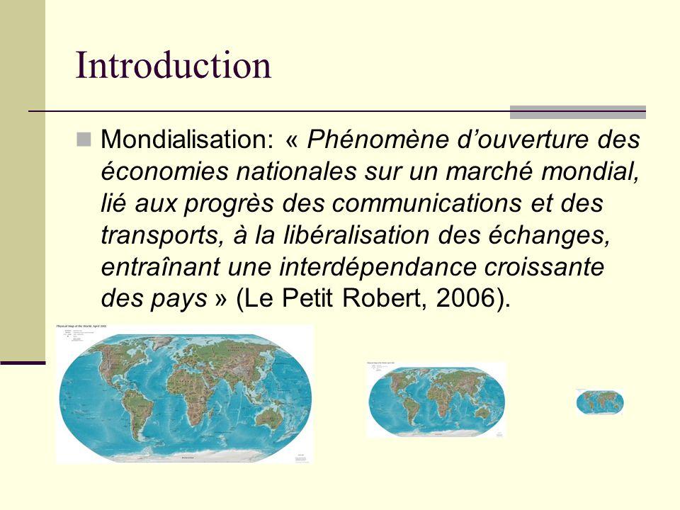Introduction Mondialisation: « Phénomène douverture des économies nationales sur un marché mondial, lié aux progrès des communications et des transpor