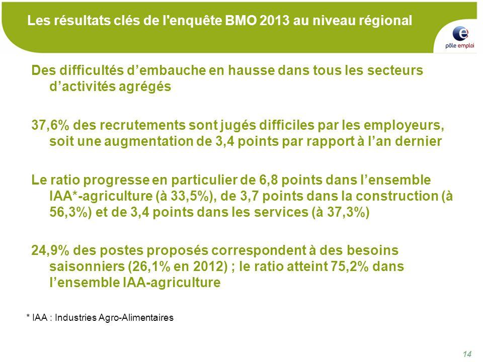 14 Les résultats clés de l enquête BMO 2013 au niveau régional Des difficultés dembauche en hausse dans tous les secteurs dactivités agrégés 37,6% des recrutements sont jugés difficiles par les employeurs, soit une augmentation de 3,4 points par rapport à lan dernier Le ratio progresse en particulier de 6,8 points dans lensemble IAA*-agriculture (à 33,5%), de 3,7 points dans la construction (à 56,3%) et de 3,4 points dans les services (à 37,3%) 24,9% des postes proposés correspondent à des besoins saisonniers (26,1% en 2012) ; le ratio atteint 75,2% dans lensemble IAA-agriculture * IAA : Industries Agro-Alimentaires