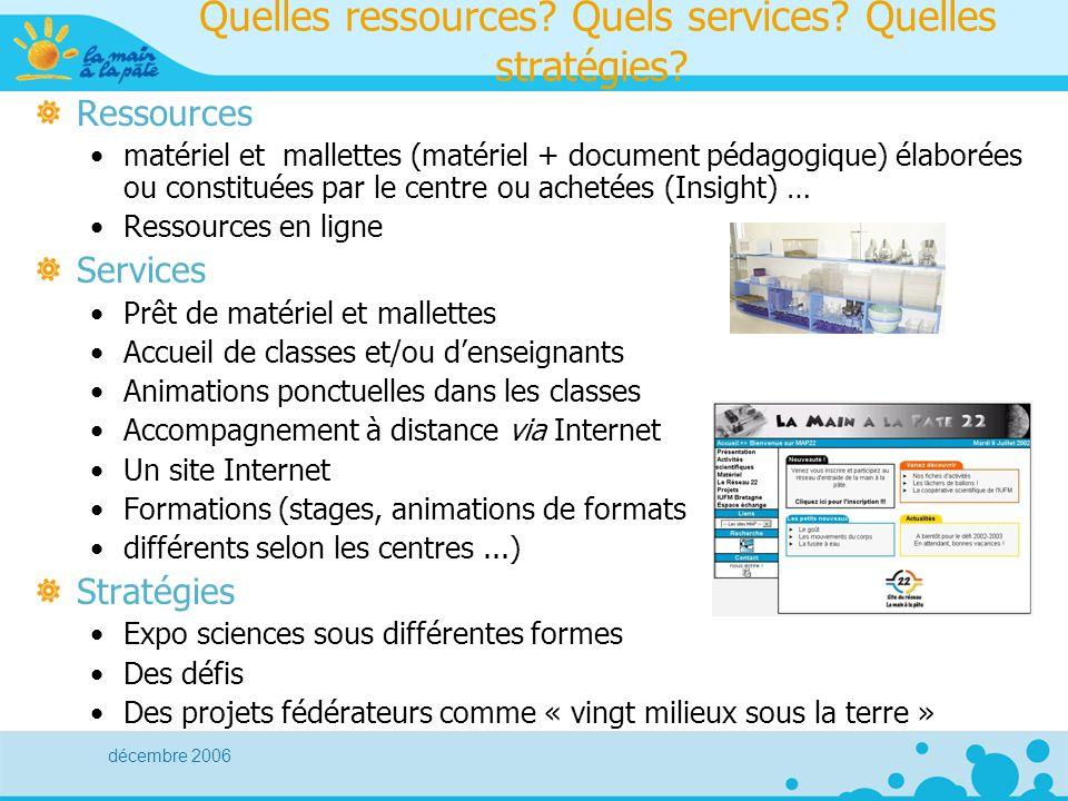 décembre 2006 Quelles ressources. Quels services.