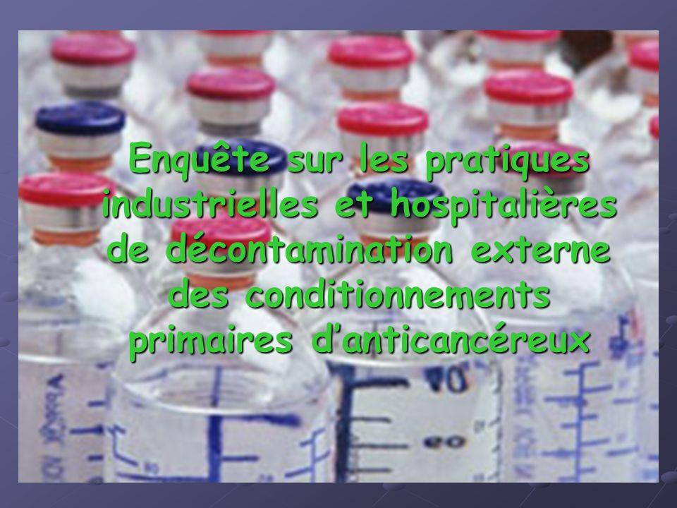 Enquête sur les pratiques industrielles et hospitalières de décontamination externe des conditionnements primaires danticancéreux