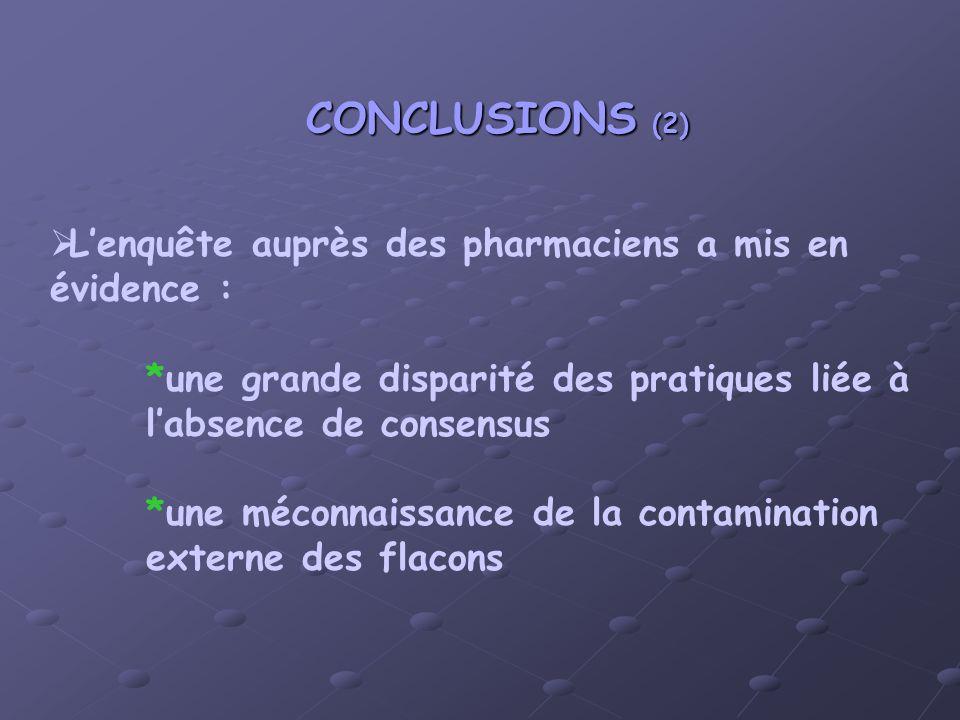 Lenquête auprès des pharmaciens a mis en évidence : *une grande disparité des pratiques liée à labsence de consensus *une méconnaissance de la contamination externe des flacons CONCLUSIONS (2)