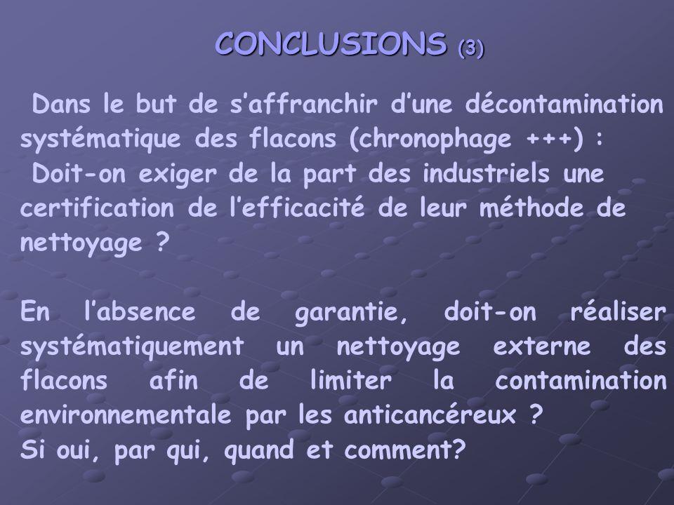 CONCLUSIONS (3) Dans le but de saffranchir dune décontamination systématique des flacons (chronophage +++) : Doit-on exiger de la part des industriels une certification de lefficacité de leur méthode de nettoyage .
