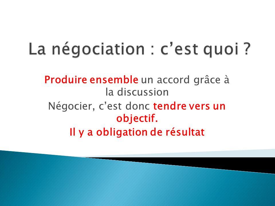 Produire ensemble un accord grâce à la discussion Négocier, cest donc tendre vers un objectif.