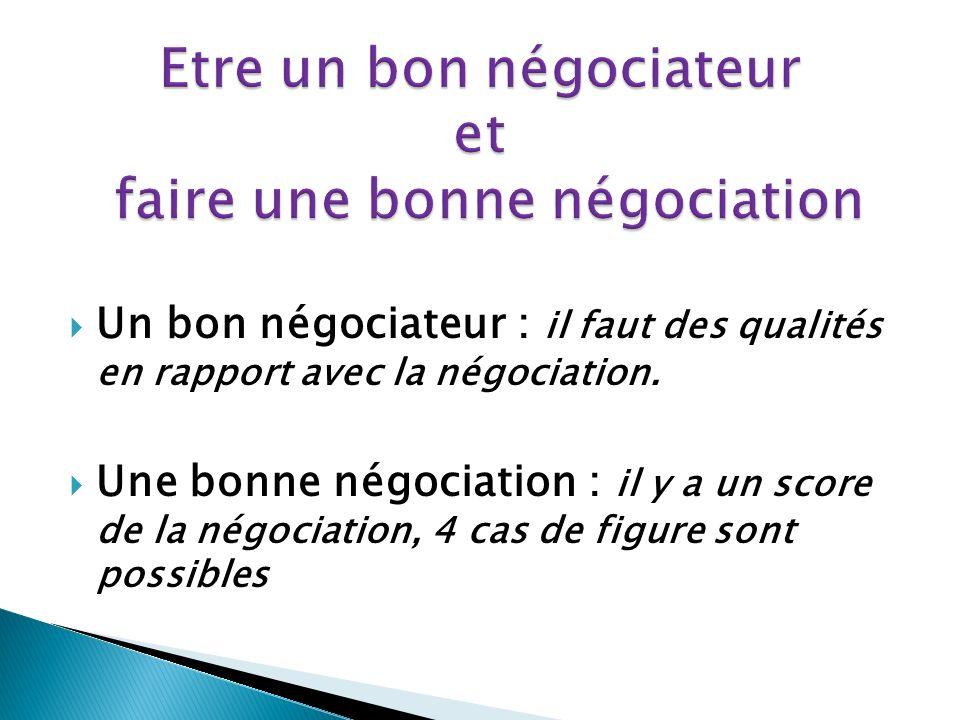 Un bon négociateur : il faut des qualités en rapport avec la négociation.