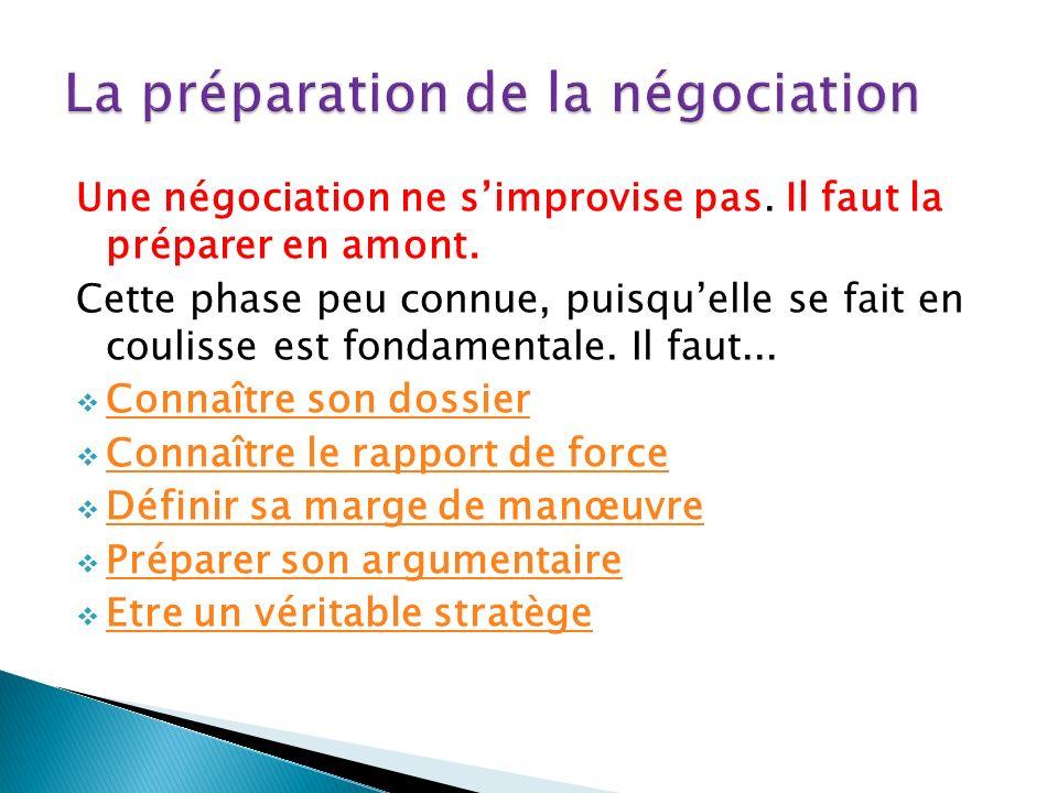 Une négociation ne simprovise pas. Il faut la préparer en amont.