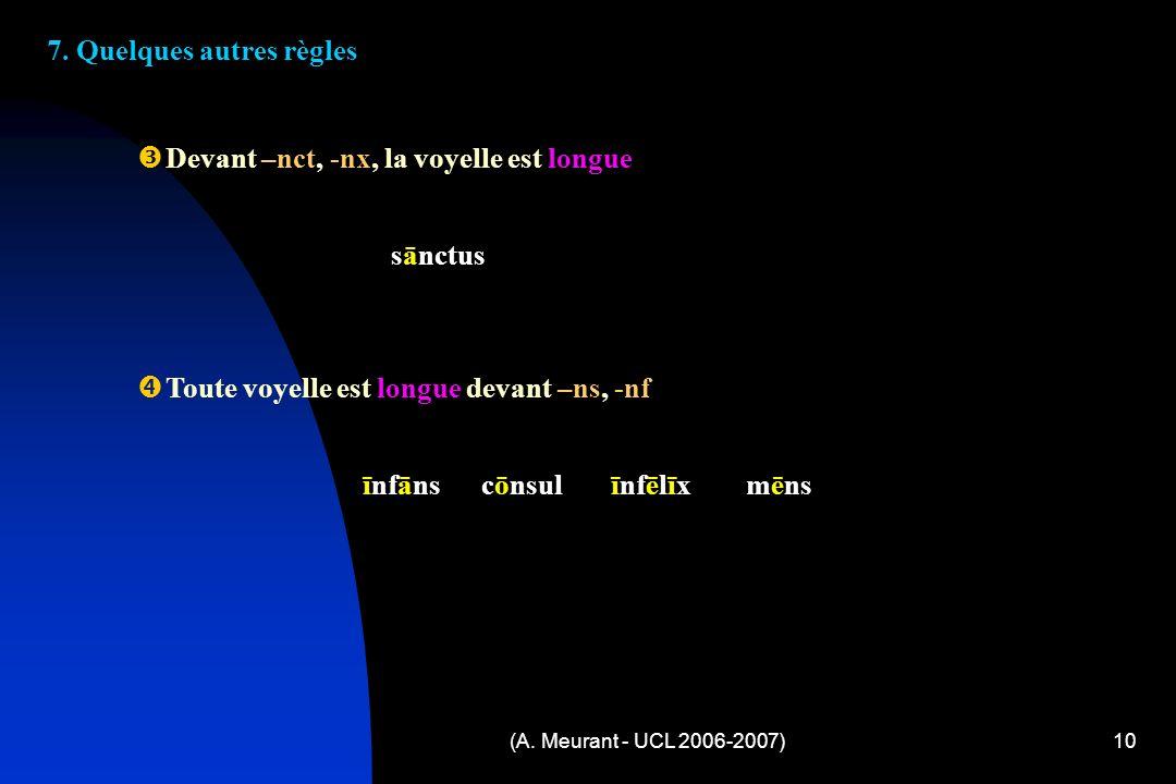 (A. Meurant - UCL 2006-2007)10 7.
