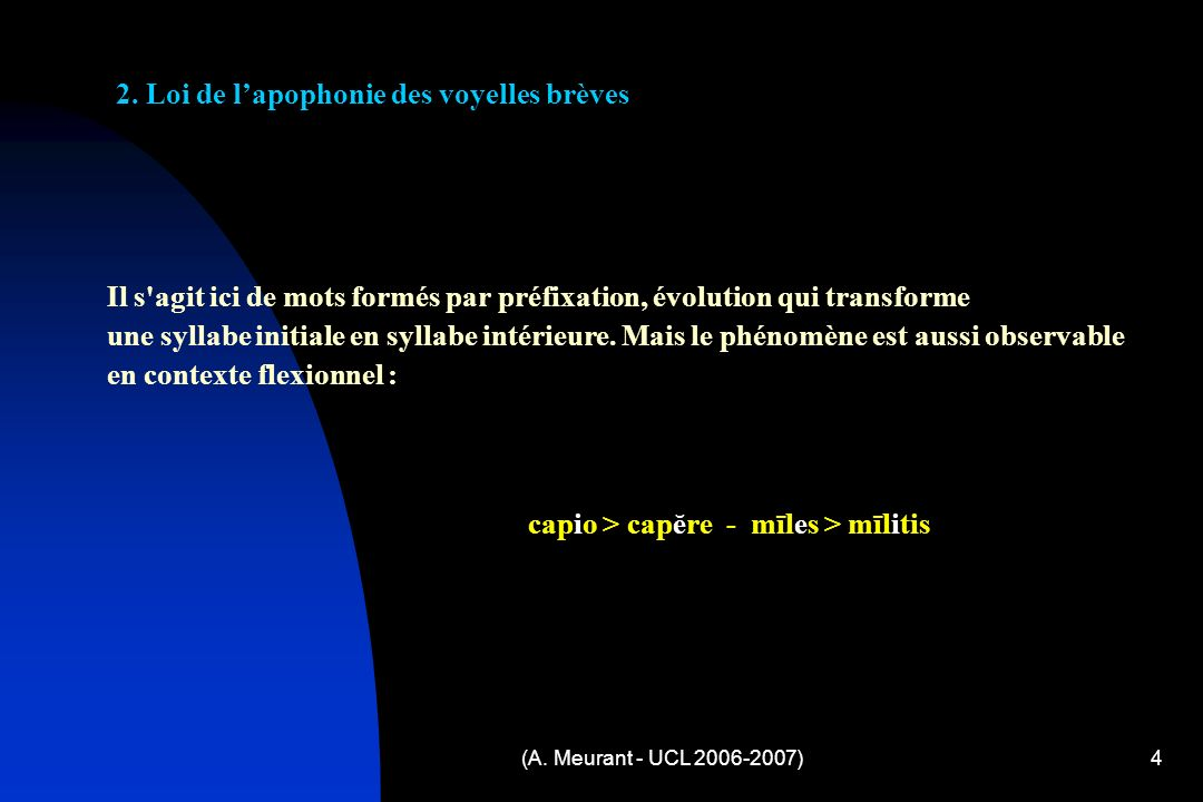 (A.Meurant - UCL 2006-2007)5 3.