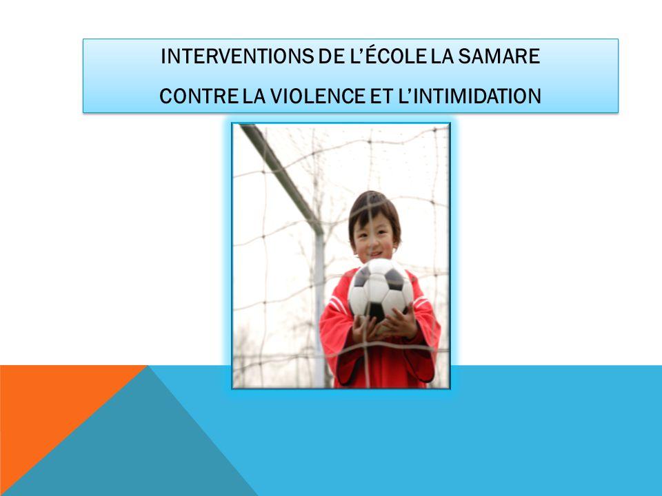 INTERVENTIONS DE LÉCOLE LA SAMARE CONTRE LA VIOLENCE ET LINTIMIDATION INTERVENTIONS DE LÉCOLE LA SAMARE CONTRE LA VIOLENCE ET LINTIMIDATION