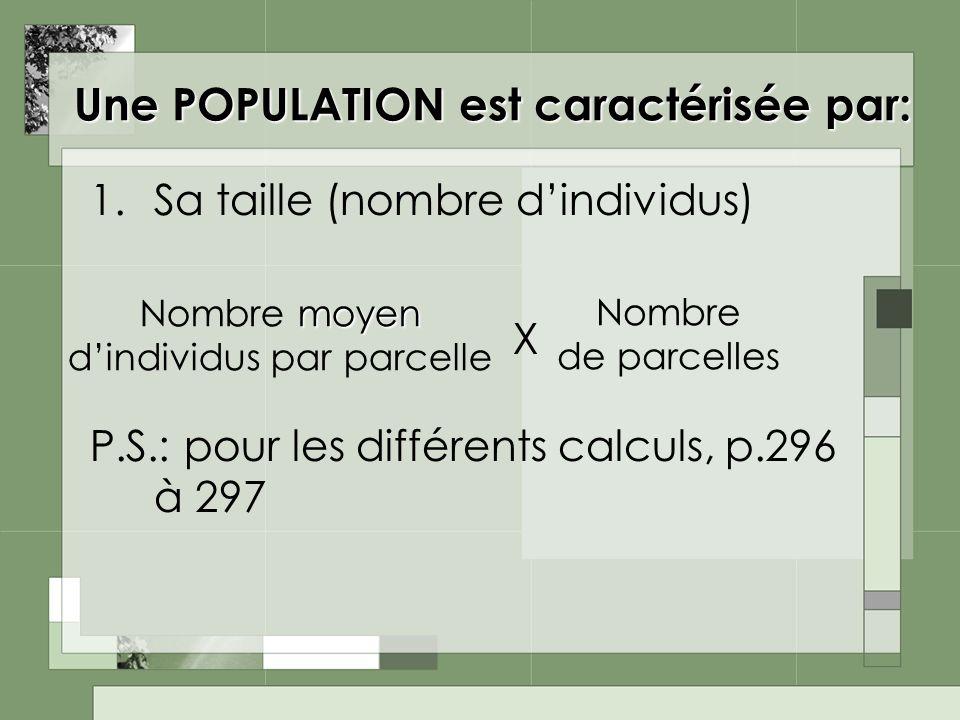 Une POPULATION est caractérisée par: 1.Sa taille (nombre dindividus) P.S.: pour les différents calculs, p.296 à 297 moyen Nombre moyen dindividus par