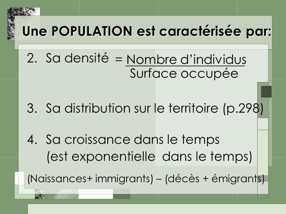 Une POPULATION est caractérisée par: 2.Sa densité 3.Sa distribution sur le territoire (p.298) 4.Sa croissance dans le temps (est exponentielle dans le