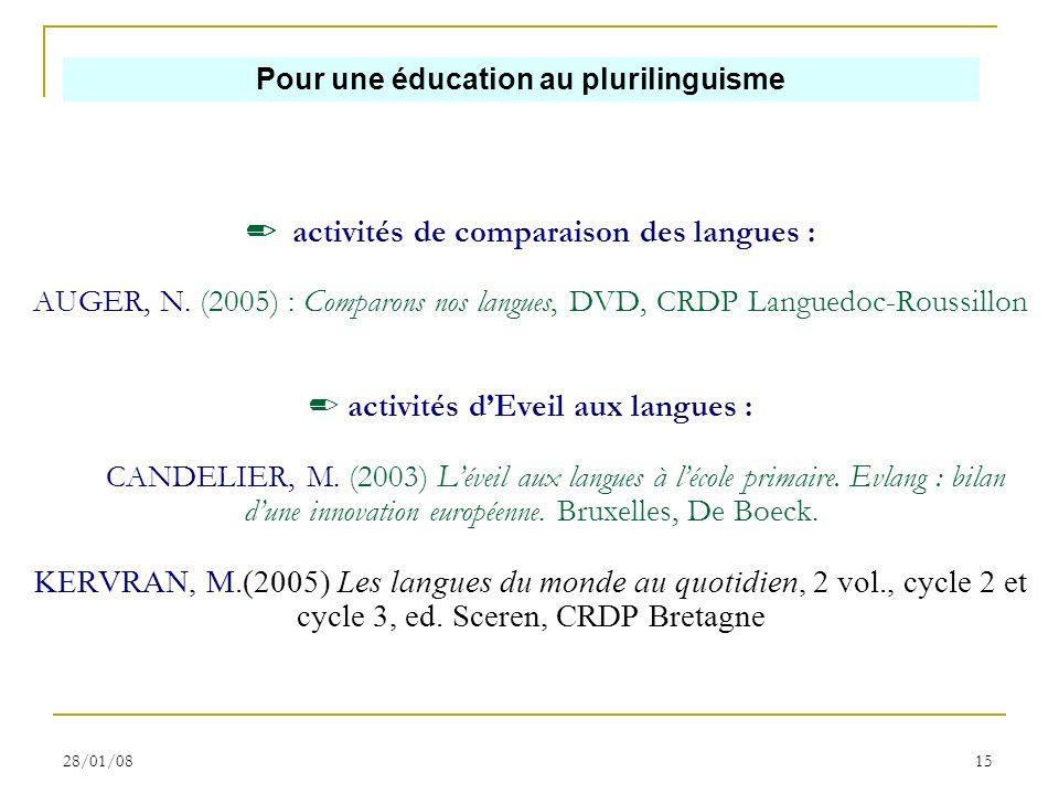28/01/0815 activités de comparaison des langues : AUGER, N. (2005) : Comparons nos langues, DVD, CRDP Languedoc-Roussillon activités dEveil aux langue