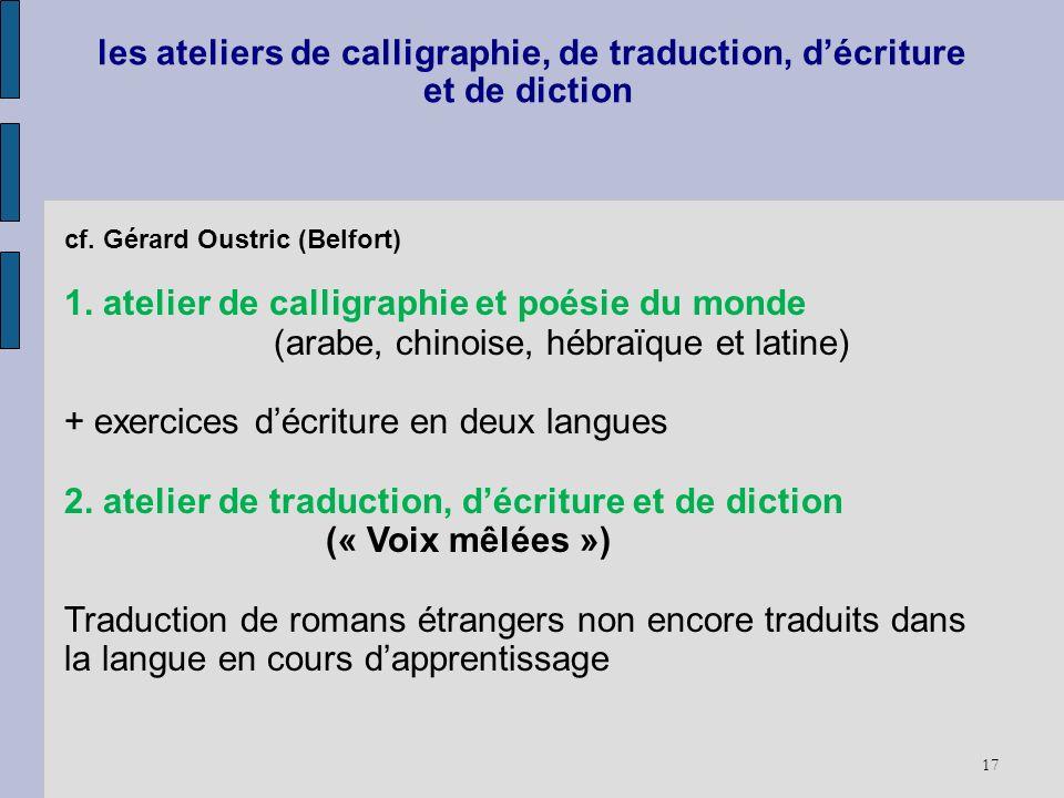 17 les ateliers de calligraphie, de traduction, décriture et de diction cf. Gérard Oustric (Belfort) 1. atelier de calligraphie et poésie du monde (ar